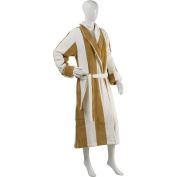 Slenderella Unisex Striped Coral Fleece Dressing Gown Luxury Wrap Around House Coat with Pockets S-XL