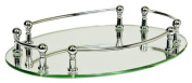 Taymor Chrome Oval Vanity Mirror Tray with Rails