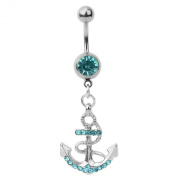316L Surgical Steel Navy Blue Rhinestone Anchor Belly Ring Navel Body Piercing