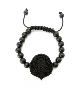 Wooden Lion Head Pendant Wood Bead Chain Bracelet in Black-Tone WB14BK