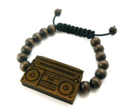 Hip Hop Boombox Wooden Pendant Wood Bead Chain Bracelet in Brown-Tone WB4BRN
