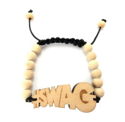#SWAG Wooden Pendant Wood Bead Chain Hip Hop Bracelet in Natural-Tone WB17NL