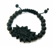 SWAG Wooden Pendant Wood Bead Chain Hip Hop Bracelet in Black-Tone WB9BK