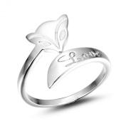 Merdia S925 Sterling Silver Fox Love Adjustable Ring