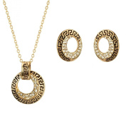 Perfect Gift - Gold Plated Old Gold Tone Crystal Rhinestones Vintage Style Chinese Wind Earrings Pendant Necklace Jewellery Set
