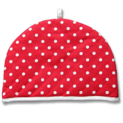 Homescapes Double Design Tea Cosy Polka Dots Red Muff Teapot Warmer 100% Cotton