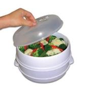 New 2 Tier Microwave Vegetable Steamer Cooker Healthy Pasta Rice Cooking Pot Pan Shopmonk