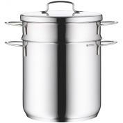 WMF Pasta Pot 2-piece Ø 18 cm approx. 3l Mini stackable pouring rim metal lid Cromargan stainless steel brushed suitable for all stove tops including induction dishwasher-safe