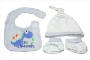 Blue dinosaur hat, bib and booties gift set - baby boy newborn to 6 months