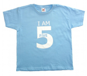 Fab4babystars Children's I Am 5 Birthday T-shirt - Cool Blue - Size 5-6 Years