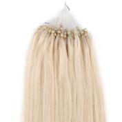 100S Loop Micro Ring Remy Human Hair Extension Platinum blonde 46cm /50g