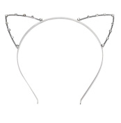niceeshop(TM) Party Crystal Pearl Shot-in Cat Ears Child Adult Hair Band Fancy Dress Costume Cosplay-Silver
