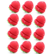 12 x Strawberry Hair Care Soft Sponge Roll Rollers Curlers DIY Tool