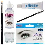 Julienne Eyelash Eyebrow Tint Tinting Kit Dye Blue Black Tint Brush Dish Oxidant