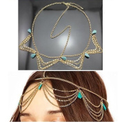 Fashion Gothic Women Ladies Crown Rhinstone Head Chain Headpiece Headdress Headwrap Hair Chain Jewellery