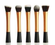 NEW Professional 5pcs ROSE GOLD flat top foundation/angled blusher/face powder makeup brush set