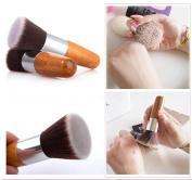 NEW Flat Top Buffer Bamboo Wooden Liquid Foundation/Powder/Bronzer Makeup Brush