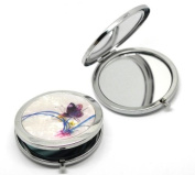 """CKB Ltd ® Mother of Pearl Effect Make Up Pocket Compact Mirror cosmetic Art Deco Butterfly & Flower Pattern 7.7x7cm (3""""x2-3/4""""),"""