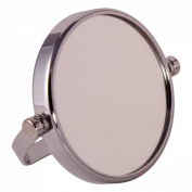 FMG Small Round Chrome Free Standing 7X Magnifying Travel Mirror 7cm Diameter