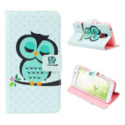 Atdoshop(TM) Owl Bird Wallet Leather Flip TPU Cover Case for Smart Mobile Phones