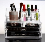 HQdeal Makeup Organiser Luxury Cosmetics Acrylic Clear Case Storage Insert Holder Box with Drawers