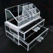 Feibrand Cosmetic Jewellery Rack Makeup Organiser Box Case Clear 2 Storage Drawers