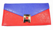 . Ex High Street, Red and Blue Faux Leather CLUTCH / HAND BAG with Swivel Clasp Fastener, 28 X 13 CM