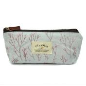 Women Flower Floral Pen Storage Case Coin Purse Pouch Makeup Cosmetic Bag - Blue