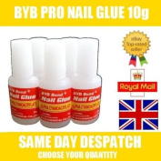 2 X BYB 10g PRO NAIL ART GLUE & BRUSH STRONG ADHESIVE - ACRYLIC FALSE FAKE NAIL GLUE