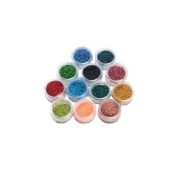 12x Colour Set of Nail Art Glitter Decoration Beautiful Colourful Sparkling Dust Powder by Kurtzy TM