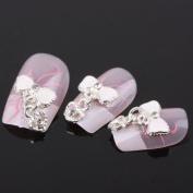350Buy 10Pcs Bow Tie Heart Alloy 3D Rhinestone Nail Art Slice Diy Decoration