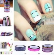 Nail Art Striping Tape Line Decoration pack of 10 rolls + 100 Lint Free Nail Wipes by Boolavard® TM