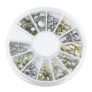6 Style 3D Design Nail Art Tips Decoration Metallic Studs Gold Silver Stud Wheel