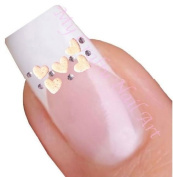 White Heart 3D Adhesive Nail Stickers Art