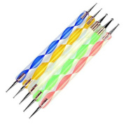 Restly(TM) 5 Nail Art Dotting Tools, Double Ended, Multi-Coloured, Marbling Tools