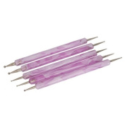 Well-Goal 5pcs 2 Way Double Ended Nail Art Manicure Pedicure Dot Paint Dotting Painting Marbleizing Pen Tool--Pink