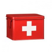Retro Medicine Box Red With White Cross Features 2 Carry Handles First Aid Medical Box Tin Storage