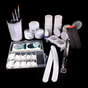 NAIL Art Manicure Kit Nail Tips Acrylic Powder False Nail Pliers Full Set NEW