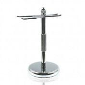 . Chrome Razor & Shaving Brush Shaving Stand Holder Drip Stand