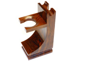 Quality Wood Shaving Razor and Shaving Brush Stand.Walnut Finish