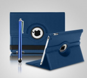 iPro Rotating 360 Degree Leather Case Cover with Screen Protector and Stylus Pen for iPad 2/3/4 - Blue