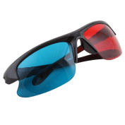 3D Glasses Sport Style Red & Blue Dimensional Anaglyph Black Plastic Frame 3D BuyinCoins