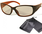 """Passive 3D Movie & TV Glasses - Unisex - black / orange - for RealD cinema use and passive 3D TVs such as LG """"Cinema 3D"""" and Philips """"Easy 3D""""- circularly polarised - with pouch"""