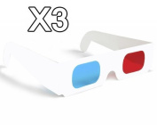 3 x 3D Glasses Red/Blue Cyan Paper Card 3-D Anaglyph Glasses WHITE