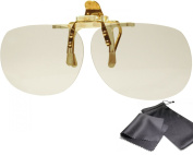 """High Quality 3d Clip on Glasses - Gold Edition - Circularly Polarised - For Reald Cinema and Passive 3d Tvs Such As Lg """"Cinema 3d"""", Philips """"Easy 3d"""", 3d Televisions From Sony, Toshiba, Panasonic, Grundig and Hisense - With Pouch and Cleaning Cloth"""