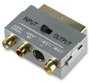 Gold Switchable Scart to 3 Phono & S-Video Adaptor