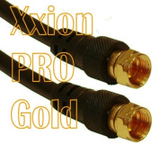 Xxion PRO Gold - 1 metre Male F Plug / Connector to Male F Plug / Connector Lead, Gold Plated Connectors, High Definition Pure OFC Low Loss Shielded RG59 Coaxial Cable - Suitable for use with Satellite, Aerial, Cable or CCTV applications - 75ohm