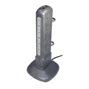 Masterplug Indoor Power SRPT122-MP 12-Socket Surge-Protected Socket with 2 m Extension Lead and Telecom and Data - Metallic Grey