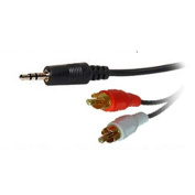 3.5mm Jack to 2 x RCA Phono Audio Cable Gold 1m Lead