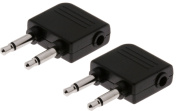 Twin Pack of 7dayshop Nickel-Plated Aeroplane Headphone Adapters - Dual Mono 3.5mm to 3.5mm Stereo Socket